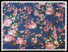 Deep blue ground country trees floral pattern printing 75d soft chiffon pastoral style fabric