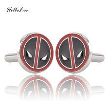 Luxury Men Superhero Movie Deadpool Black With Red Enamel Cufflinks Fashion Brand Cuff Buttons High Quality Cuff Links(China)