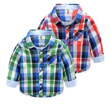 Spring boys long sleeved shirt cotton baby jacket lapel Burberry spring kids children long sleeved shirt