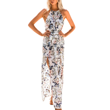 Buy 2018 Summer Boho Beach Dress Women Sexy Sleeveless Halter Floral Print Chiffon Split Dress Female Elegant Party Maxi Dresses