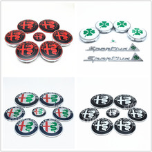 7Pcs ALFA ROMEO 74mm Car Front Hood logo auto Rear Trunk Emblem 40mm steering Wheel stickers 50mm 56mm 60mm Wheel Hub Cap Badges(China)