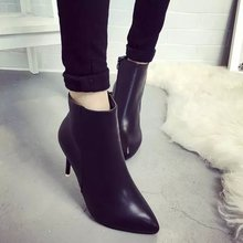 Womens High Heel Ankle Boots 2017 Sexy Feminias Thin Heels Pumps High Quality PU Leather Women Boots Pointed Toe Ladies Short Bo