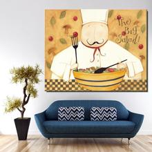 cook Tips Cartoon American Style Oil Painting Canvas Spray Unframed Frameless hologram picture straw Colorful art Artist(China)