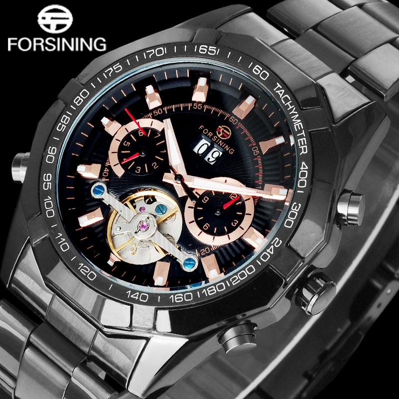 FORSINING Relogio Masculino 2017 Luxury Brand Business Steel Strap MenS Watch Auto Mechanical Tourbillion Wristwatches A812<br>