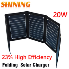 Sunpower 20W Dual USB Portable Outdoor Backpack Solar Charger For Tablet Folding Solar Panel Charger Battery 23%High Efficiency(China)