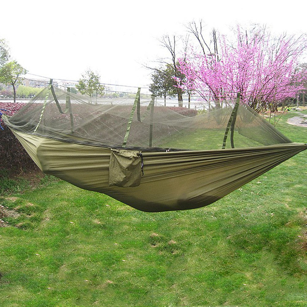 1 PCS Portable Double Hammock Army Green High Strength Parachute Nylon Camping Mosquito Garden Swing With Mosquito Nets Hamaca<br>