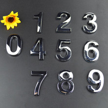 New 1pcs Silver House Hotel Door Address Plaque Number Digits Sticker Plate Sign 50x30x6mm Convinient Room Gate Number Stickers