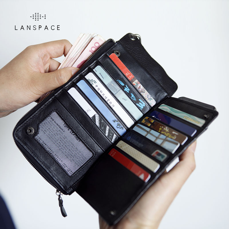 LANSPACE mens leather wallet brand thin purse famous brand coin purses holders<br>