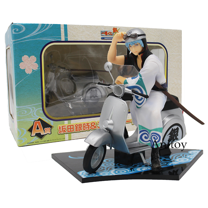 Silver Soul Gintama Sakata Gintoki &amp; Scooter PVC Figure Collectible Model Toy 15cm<br>