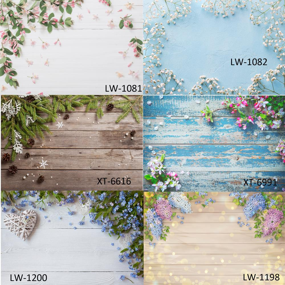 HUAYI Flowers with Wood board Backdrop Birthday Photocall baby pet portrait Photography photo Background Studio Photophone Props