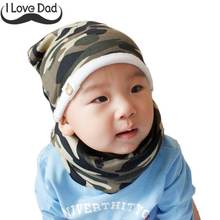 2Pcs Cotton Plush Baby Hat Set Camo Star Print Knitted Warm Thick Caps Scarves Children Scarf Collar Boys Girls Beanie(China)