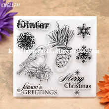 MERRY CHRISTMAS Winter Bird Scrapbook DIY photo cards account rubber stamp clear stamp transparent stamp 10.5x10.5cm KW7081009(China)