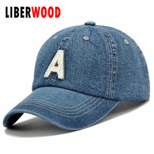 Denim Solid Blue Jeans Lettering A Baseball Hat Cap Cowboy Dad Hat Curved Ball Cap USA Distressed Vintage look