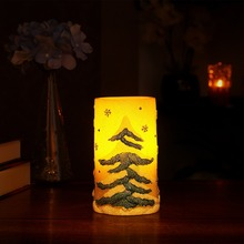 DFL 3x6 christmas trees flameless LED candle with timer, Work with 2xC batteries(China)
