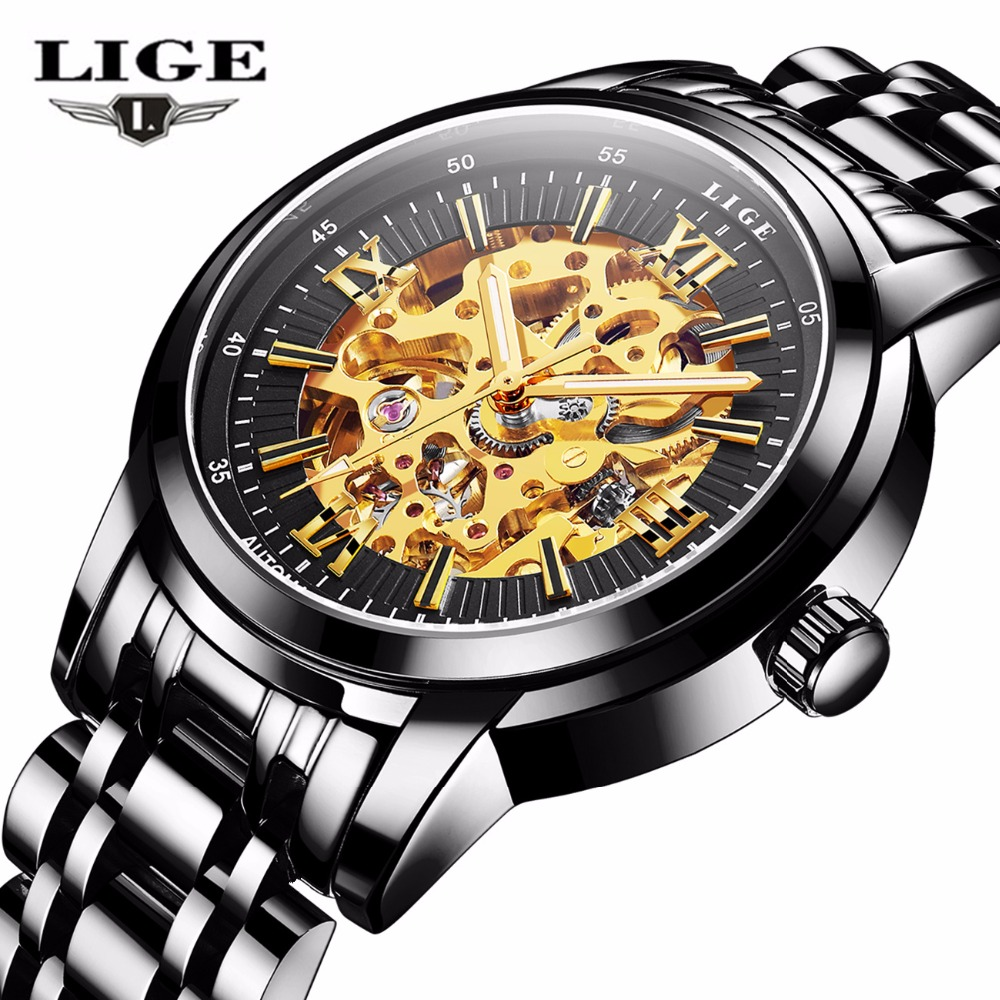Men Watches 2017 LIGE Men Watches Brand Luxury Famous Military Watch Men Clock Skeleton Automatic Wristwatch Relogio Masculino<br>