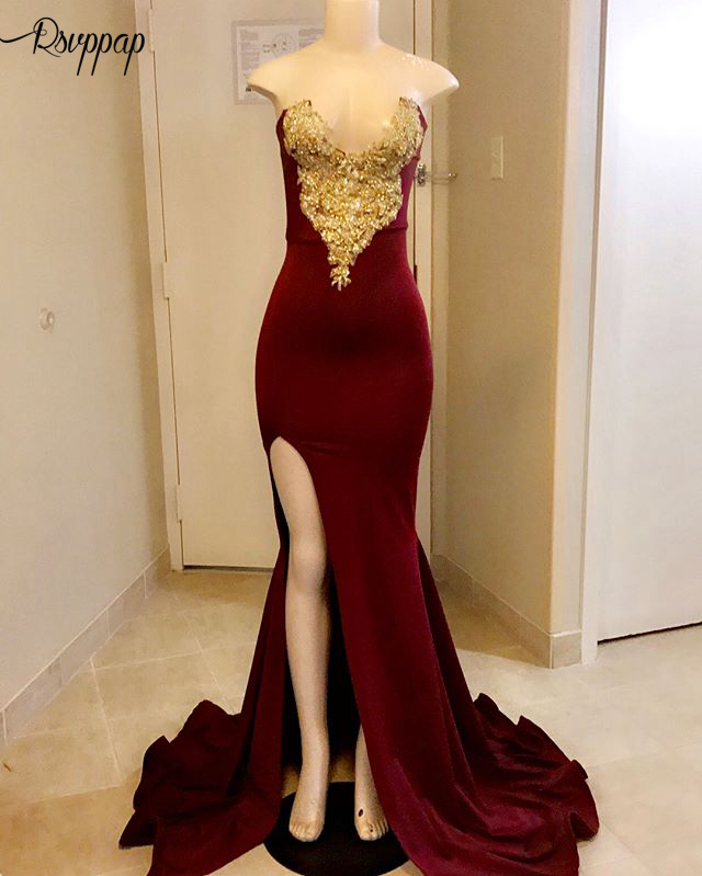 Long Elegant Prom Dresses 2019 Real Photo Sexy High Slit Gold Beaded Lace V-neck African Black Girl Burgundy Mermaid Prom Dress