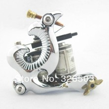 One 10 Wrap Coils Aluminum Alloy Frame Tattoo Machine Gun For Kit Set Supply DTM01-C