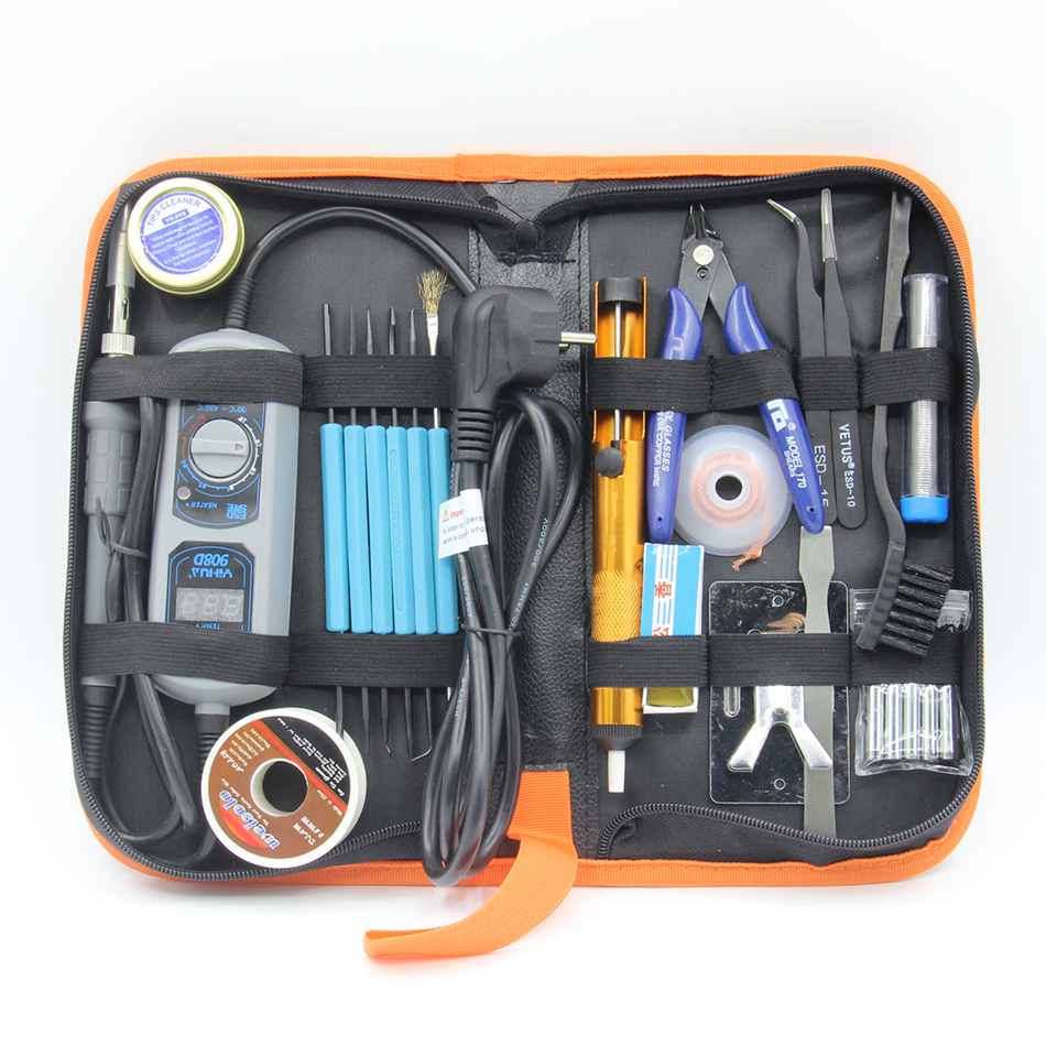 YIHUA 908D 220V &amp; 110V 60W Heated iron LED Digital Display Soldering Station Iron Iron stand solder Welding tools tweezers Toolk<br>