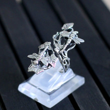 Character Of Silver Products Ms Chiang Mai, Thailand Pure Manual Thai Silver Silver Ornaments Dragonfly Water Ring