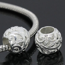 DoreenBeads Copper European Charm Beads Round Silver color Flower Pattern Carved 12mm Dia,Hole:Approx 5.8mm,10PCs 2015 new