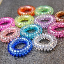 Wholesale 15 Pcs Candy Telephone Wire Hair Accessories Girl Gum Elastic Ring Rope Plastic Rope Hair Accessories 3.5CM
