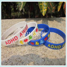 ADHD Awareness Wristband, Silicon Bracelet, filled in colour, custom design is welcome, 100pcs/lot, free shipping(China)