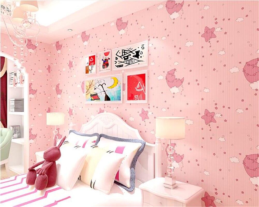 beibehang papier peint Kids Room Fashion Boy Girl Bedroom Green Nonwovens papel de parede 3d Wallpaper Cute Star Moon Wall paper<br>