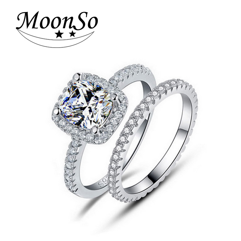Moonso 925 sterling silver rings set real pure silver CZ exaggeration rings for women wedding engagement jewelry R1090(China (Mainland))