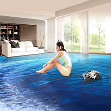 Super Thick Custom 3D PVC Floor Mural Wallpaper Blue Endless Ocean Seascape Photo Mural Room Decor Self Adhesive Floor Sticker(China)
