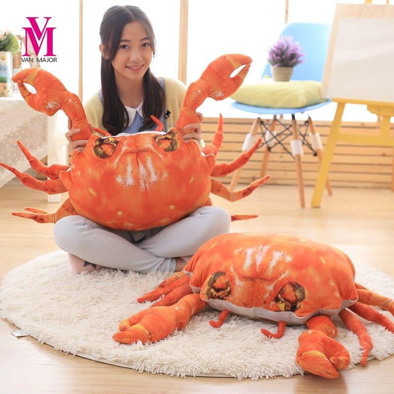60cm  3D Artificial Crab Cloth Doll Pillow Cushion Stuffed Plush Birthday Gift For Children Crab Plush Toys<br>