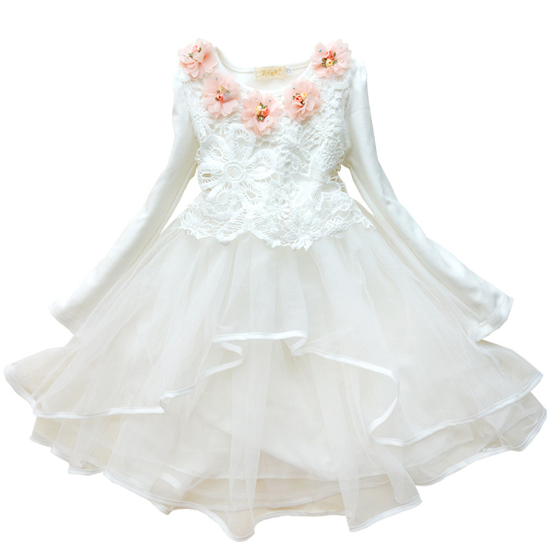 Fashion princess new cotton girls dress girl long sleeves kids white frocks<br><br>Aliexpress