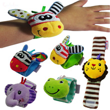 1pc Kids Cartoon Baby Plush Wrist Strap Rattles Toys 0-12 Months Children Infant Newborn Soft Animal socks Rattles Mobiles