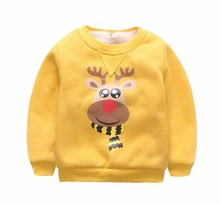 New Arrivals Unisex Boys Girls Winter Tshirts Baby Brand Design Warm Soft Christmas Tops fleece lined Long Sleeve O-Neck Clothes