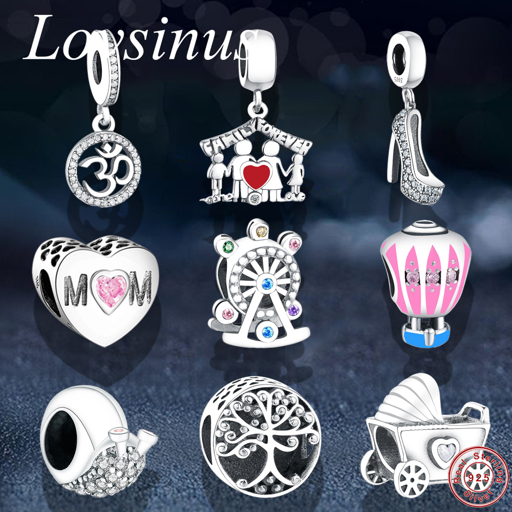 Calvas Authentic 925 Sterling Silver Family Forever Charm Bead Bead Fit European Bracelet Women Jewelry