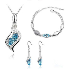 Elegant Luxury Design Silver Plated Multi Colors Austrian Crystal Wedding Jewelry Sets Birthday Gifts For Women