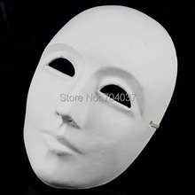 (50 pieces/lot) New Full-face Plain White Color Paper Match Masks Men & Women DIY Painting Mardi Gras Mask(China)