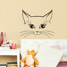 EHome Head Of Cat Wall Stickers Home Decoration Accessories Animals Wall Art Vinyl Wallpaper For Bedroom(China)