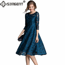 Buy Simgent Knee Length Dresses Women Autumn Spring Fashion Elegant Three Quarter Sleeve Office Floral Lace Dress Vestidos SG7976 for $22.40 in AliExpress store