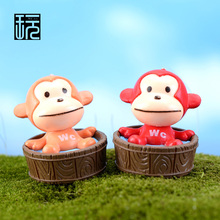 Little Bathtub Monkey Cartoon Baby Monkey Figurine Fairy Garden Miniatures Terrarium Figurines Micro Landscape/ Home Decoration(China)