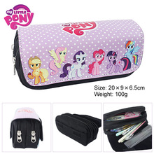 Unicorn Poni Fabric Pencil Case ,20*9*6.5cm Cartoon Double Zipper School Pencil Bag Kids Gift(China)