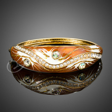 Jenia Yellow Gold Color Sparkling Austrain Crystal Oil Painting Enamel Bangle Bracelet for Women XB052(China)