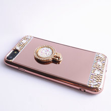 For iPhone 4 4s Case Mirror Panel Bling Diamond Finger Ring Glitter Cover Drop Proof Lady Make Up Girl Friend Hot Gift