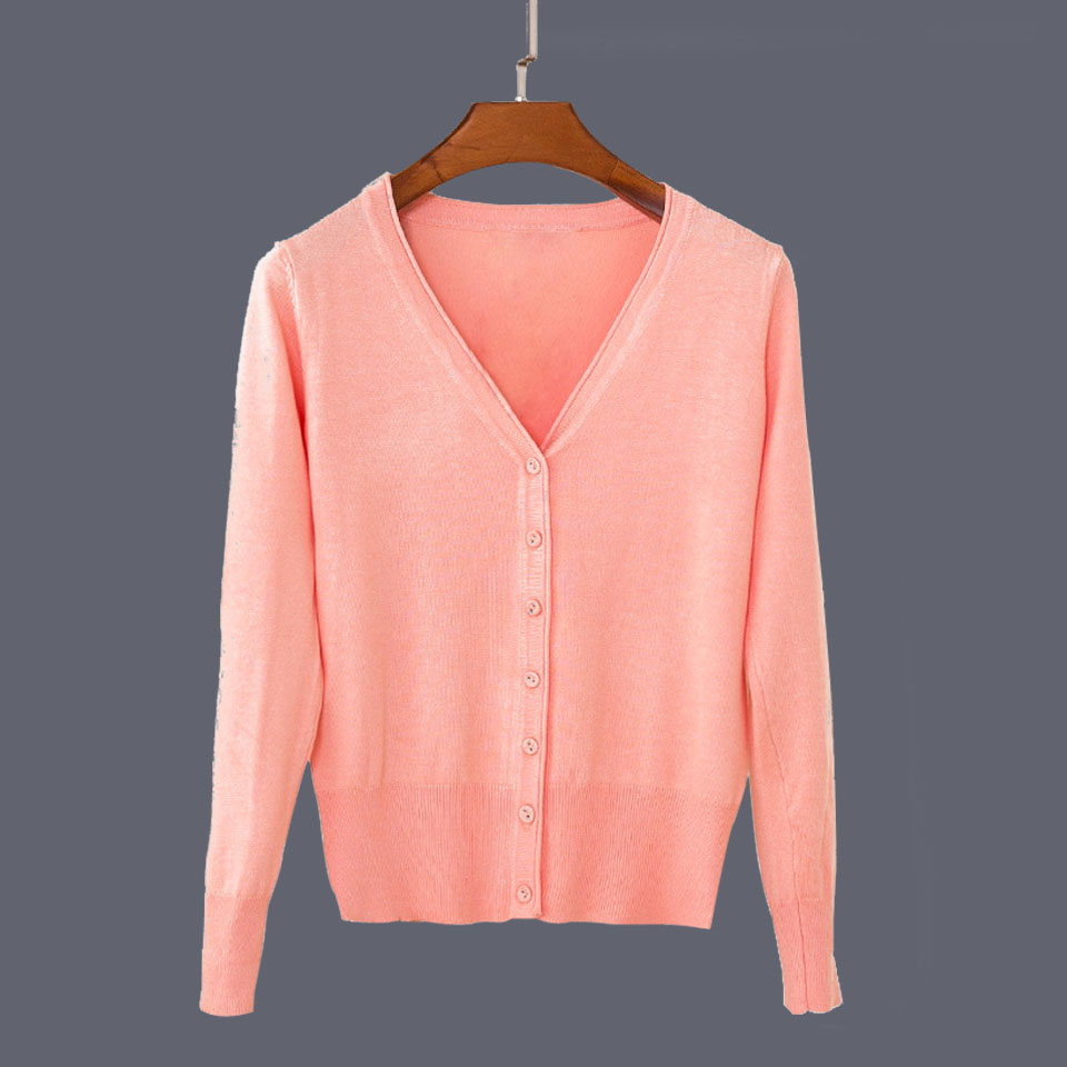 17 New Top Selling Spring Woman Sweater Tops Fashion Knitted Long Sleeve V-Neck Solid Loose Size Casual Woman Cardigan Sweater 30