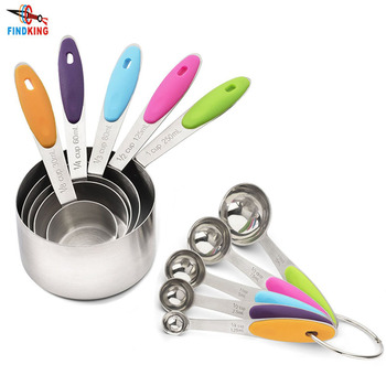 FINDKING 10 Piece Professional Grade Stainless Steel Measuring Cups and Spoons Set with Soft Silicone Handles for Easy Grip