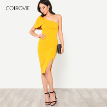 Buy COLROVIE Exaggerate Bow Detail One Shoulder Dress 2018 Sleeveless Zipper Knee Length Women Dress Spring Sheath Dress for $16.99 in AliExpress store