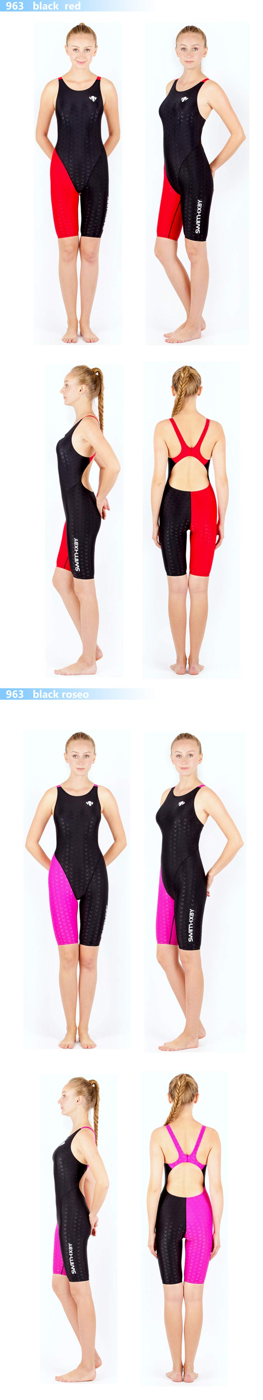 HXBY swimwear girls racing swimsuits sharkskin professional swimsuits knee one piece competition swim suits one piece 3