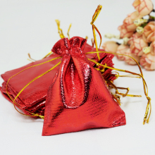 "Free Shipping 100pcs 9x12cm /3.54"" x 4.72"" Red Plated Satin Gift Bags Jewelry Bag Chritsmas Party Bag Candy Packaging Pouches"