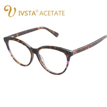 IVSTA Cat Eye Glasses Women Tortoise Cellulose Quality Big Steampunk Tenis Optical Eyeglasses Demi Color Butterfly Pure Acetate(China)