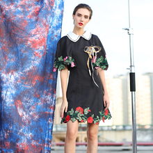Black Mini Dress 2016 Summer Princess Half Cloak Sleeve Flower Embroidery Peter Pan Collar Beading Topshop Slim Sequined Dress