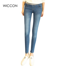 Slim jeans for women denim pencil pants high waisted jeans Chinese brand quality femme jeans blue color skinny jeans WICCON(China)